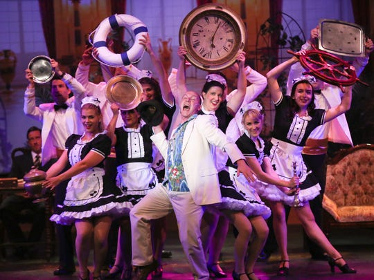 "The cast of ""Dirty Rotten Scoundrels"" performs in High Street Arts Center's production in Moorpark."
