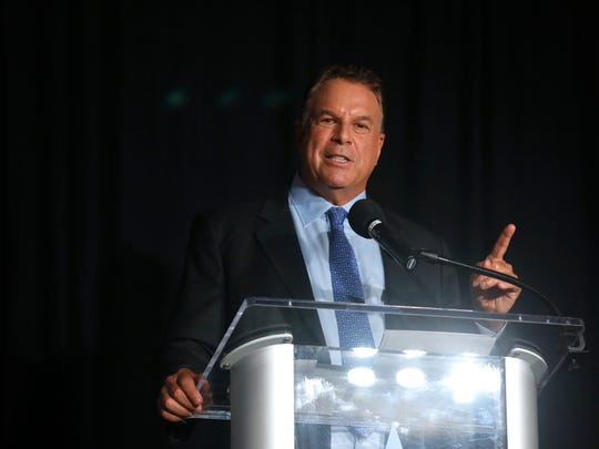 Jeff Greene answers a question at the Democratic gubernatorial primary debate, held at Florida Gulf Coast UniversityÕs Cohen Center in Fort Myers, Florida on Wednesday, July 18, 2018. Moderated by WINK News anchorÕs Chris Cifatte and Lois Thome, this is theÊfirst time the Florida Democratic Party has hosted a debate of this size for statewide candidates in Southwest Florida. This debate also marks the first time that all five Democratic gubernatorial candidates are together on stage in a formal setting.
