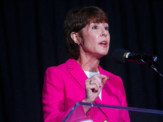 Gwen Graham answers a question posed by Chris Cifatte at the Democratic gubernatorial primary debate, held at Florida Gulf Coast UniversityÕs Cohen Center in Fort Myers, Florida on Wednesday, July 18, 2018. Moderated by WINK News anchorÕs Chris Cifatte and Lois Thome, this is theÊfirst time the Florida Democratic Party has hosted a debate of this size for statewide candidates in Southwest Florida. This debate also marks the first time that all five Democratic gubernatorial candidates are together on stage in a formal setting.