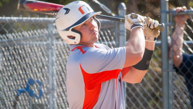 Millville third baseman Buddy Kennedy (7) eyes a near fence clearing hit that went for a triple against St. Augustine Prep at Chadd Thomas Levari Memorial Field in Richland on Monday, May 1.