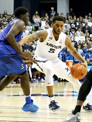 Xavier Musketeers guard Trevon Bluiett (5) scored 17 points against the Creighton Bluejays at the Cintas Center Monday, January 16, 2017. The No. 22 Musketeers (13-5) lost to seventh-ranked Creighton, 72-67.