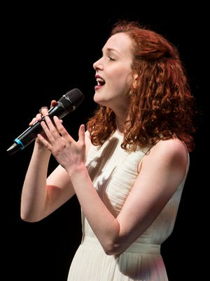 """Rebecca LaChance performs a song from """"Beautiful — The Carole King Musical"""" during the season announcement event at TPAC."""