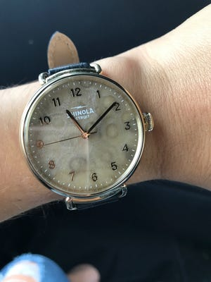 """The Canfield 38mm version of Shinola's new """"Petoskey Stone Collection."""""""