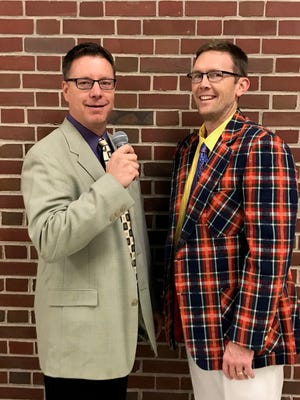 Brett Flipse, varsity boys' basketball coach at Sheboygan County Christian High School, and Ken Roeder, varsity boys' basketball coach at Kohler High School, dressed in the style of the late Craig Sager.