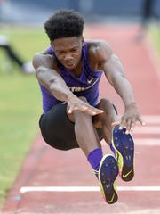 Hattiesburg's Zavier Allen won the Class 5A triple jump on Saturday, May 5, 2018, in the MHSAA Class 1A-3A-5A State Track & Field Meet at Pearl High School in Pearl, Miss.