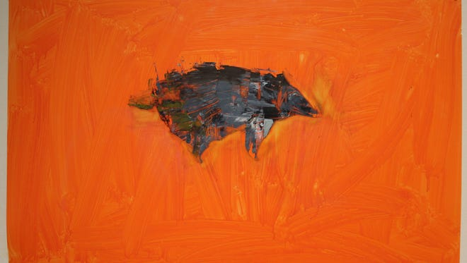"""""""Hairy Armadillo"""" is a 2010 oil on Yupo by Mary Vernon, one of four artists exhibiting at The Grace Museum in Abilene."""