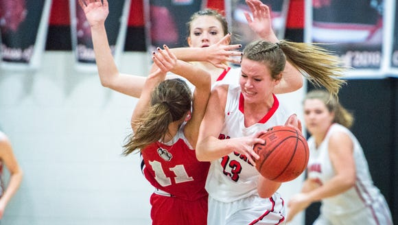 Pisgah's Lani Woods strips the ball from Franklin's