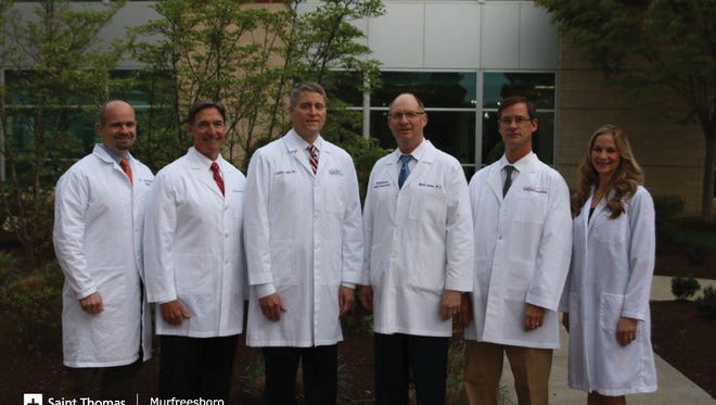 Murfreesboro Surgical Specialists has joined Saint Thomas Medical Partners, effective immediately. The surgeons,  from left, include Dr. Mark Manwaring, Dr. Wayne Westmoreland, Dr. Stephen Rich, Dr. Mark Akins, Dr. Ward Houck and Dr. Lindsay Keith.