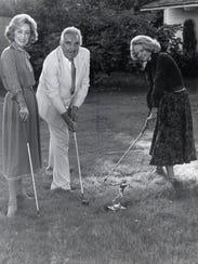 Nelda Linsk, Tony Capps and Barbara Sinatra pose to