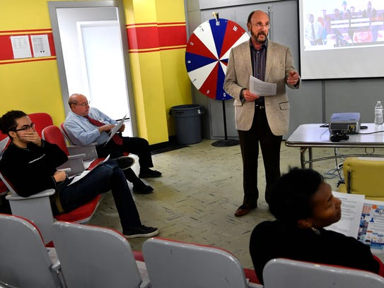 Seaton Higginbotham, the dealer principal at Arrow Ford, leads Team Workforce, a committee of the Abilene Chamber of Commerce, on  Jan. 9. The group was meeting to discuss a jobs portal for veterans and military personnel.
