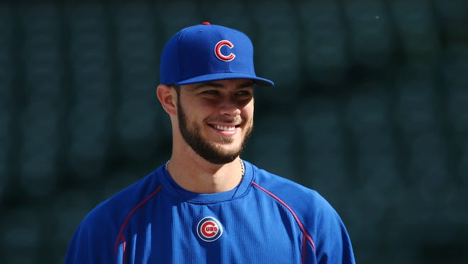 Chicago Cubs third baseman Kris Bryant during practice the day before game three of the 2015 NLCS at Wrigley Field.