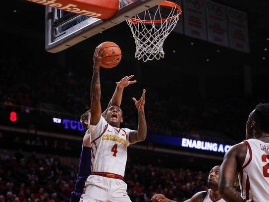 Iowa State senior Donovan Jackson approaches the hoop