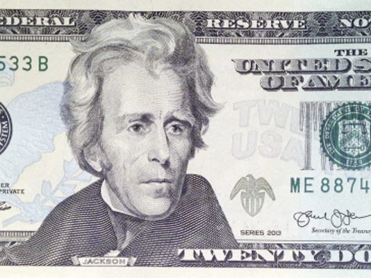 A likeness of Andrew Jackson, seventh President of the United States, adorns the front of 20 bill Friday, April 17, 2015, in Boston. Sen. Jeanne Shaheen, D-NH, filed legislation Tuesday to create a citizens panel to recommend an appropriate woman candidate to be put on the bill.