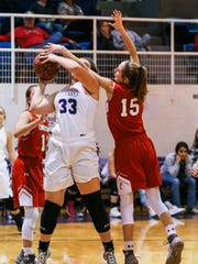 Christoval's Kayce Jackson blocks Irion County's Hadley