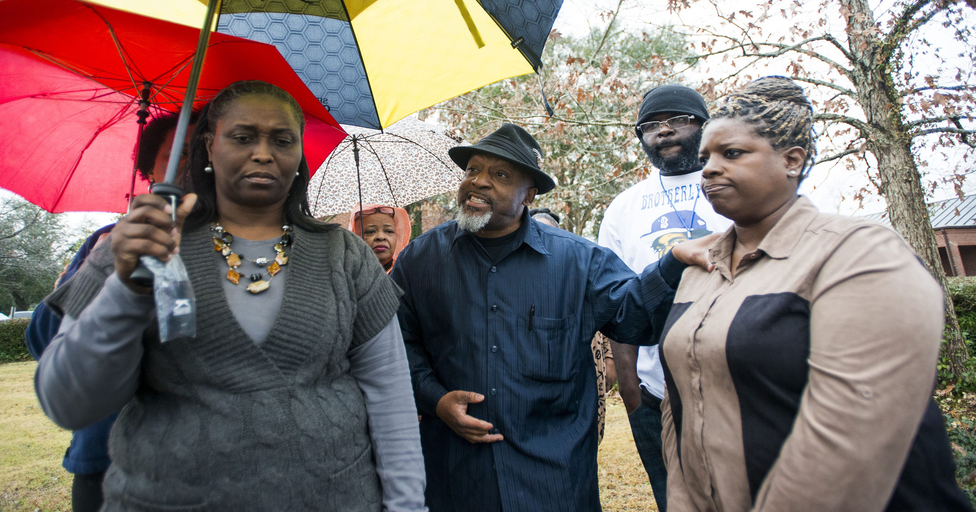 Jacqueline Massey talks with those protesting the shooting death of her son