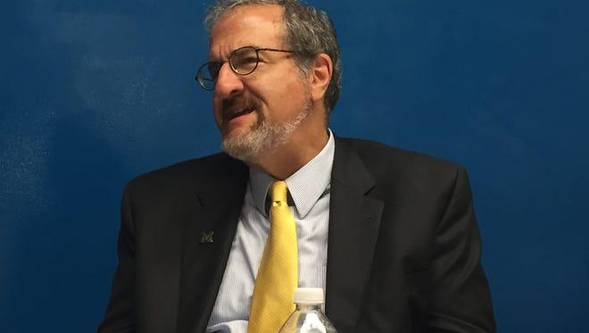 Michigan president Mark Schlissel speaks to the Detroit Free Press editorial board.