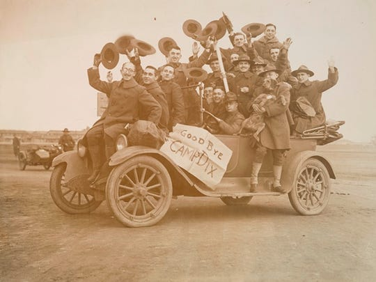 Army soldiers bid a joyous  farewell to Camp Dix in Burlington County after World War I ended Nov. 11, 1918.