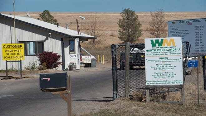 Trucks enter the North Weld Landfill Thursday, October 27, 2016. Law enforcement agencies in Colorado and Wyoming are working on logistics to search the landfill after a deceased Wyoming baby was reportedly dumped in a trash can that might have been taken to the facility.