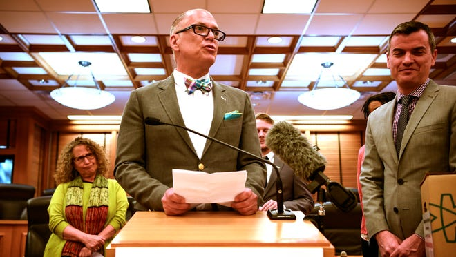 Jim Obergefell joined other supporters in a press conference asking Gov. Haslam to veto measure HB1111 which threatens the rights of the LGBT community at the Legislative Plaza in Nashville, Tenn., Wednesday, May 3, 2017.