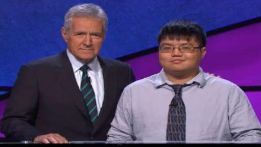 Arthur Chu and 'Jeopardy' host Alex Trebek.