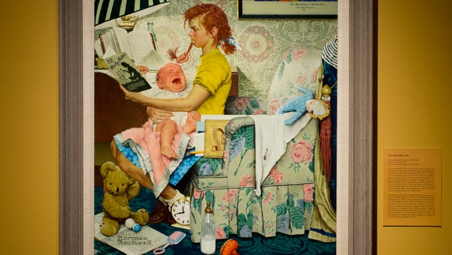 """Norman Rockwell's painting of """"The Babysitter"""" on display at the University of Vermont Fleming Museum in Burlington."""