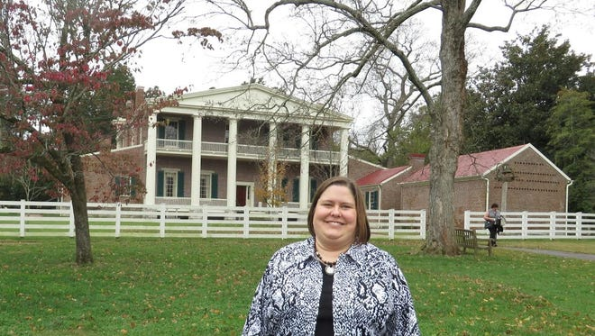 Christine Kadonsky in front of The Hermitage, Andrew Jackson's home outside of Nashville, Tenn..