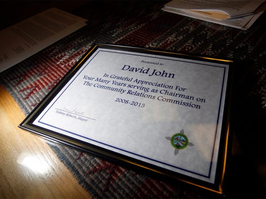 A certificate of appreciation was presented to David