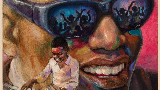 """Ray Charles,"" by George Ford, a work that is part of the ""Our Voice:Celebrating the Coretta Scott King Illustrator Award""  exhibit that is on display at the National Center for Children's Illustrated Literature through May 19."