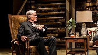 """This image released by Seven17 Public Relations shows Richard Chamberlain, from left,  Bill Pullman and Holly Hunter in a scene from the production, """"Sticks and Bones."""" Chamberlain plays Father Donald, who is called in to counsel a traumatized Vietnam war veteran, played by Ben Schnetzer."""