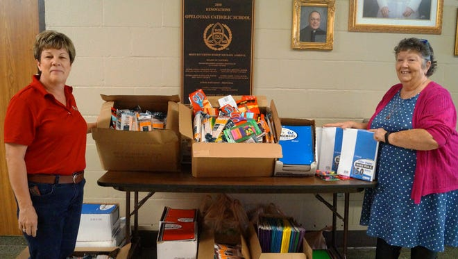 Piggly Wiggly of Opelousas, owned by OCS parent Kevin Doucet, donated boxes of school supplies to a special project headed by Opelousas Catholic School.  OCS has adopted St. Mary's Catholic School in Orange, Texas, devastated by recent Hurricane Harvey. The principal of St. Mary's, Dr. Cynthia Jackson, is a graduate of Opelousas Catholic. Mrs. Heintz, OCS Principal, received the items from Paula Quebedeaux of Piggly Wiggly and will have a group from Opelousas Catholic School bring the supplies to St. Mary's Catholic School in Orange, Texas on Friday. OCS reminds family and friends to send in supplies to school this week or drop them at the football game on Thursday night.