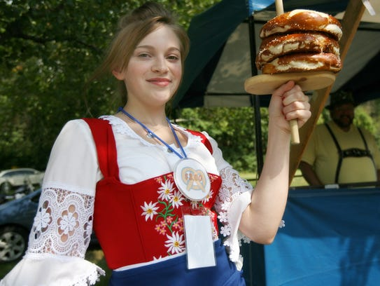 Serving up some hot pretzels during the Germania Society