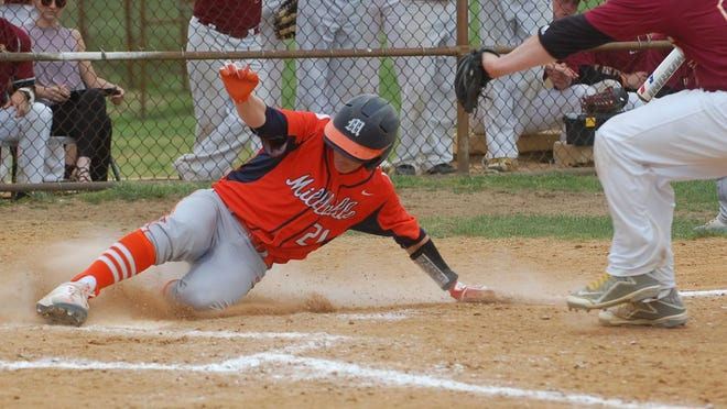 Millville's Hunter Sibley scores on a wild pitch in the bottom of the sixth inning of a 14-9 defeat to Haddon Heights in the first round of the Diamond Classic on Saturday.