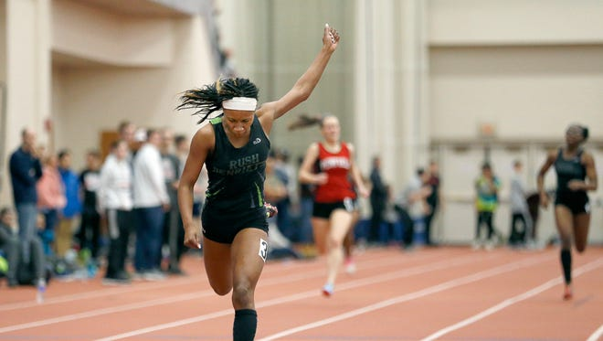 Rush-Henrietta's Lanae-Tava Thomas won the 300 Meter Run Class A during the Section V Class A and D Indoor Track Championships at the Gordon Field House of the Rochester Institute of Technology.