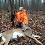 Collin Handke, 10, of Tremplaleau, got his first buck while hunting near Granton at 8 a.m. opening day.