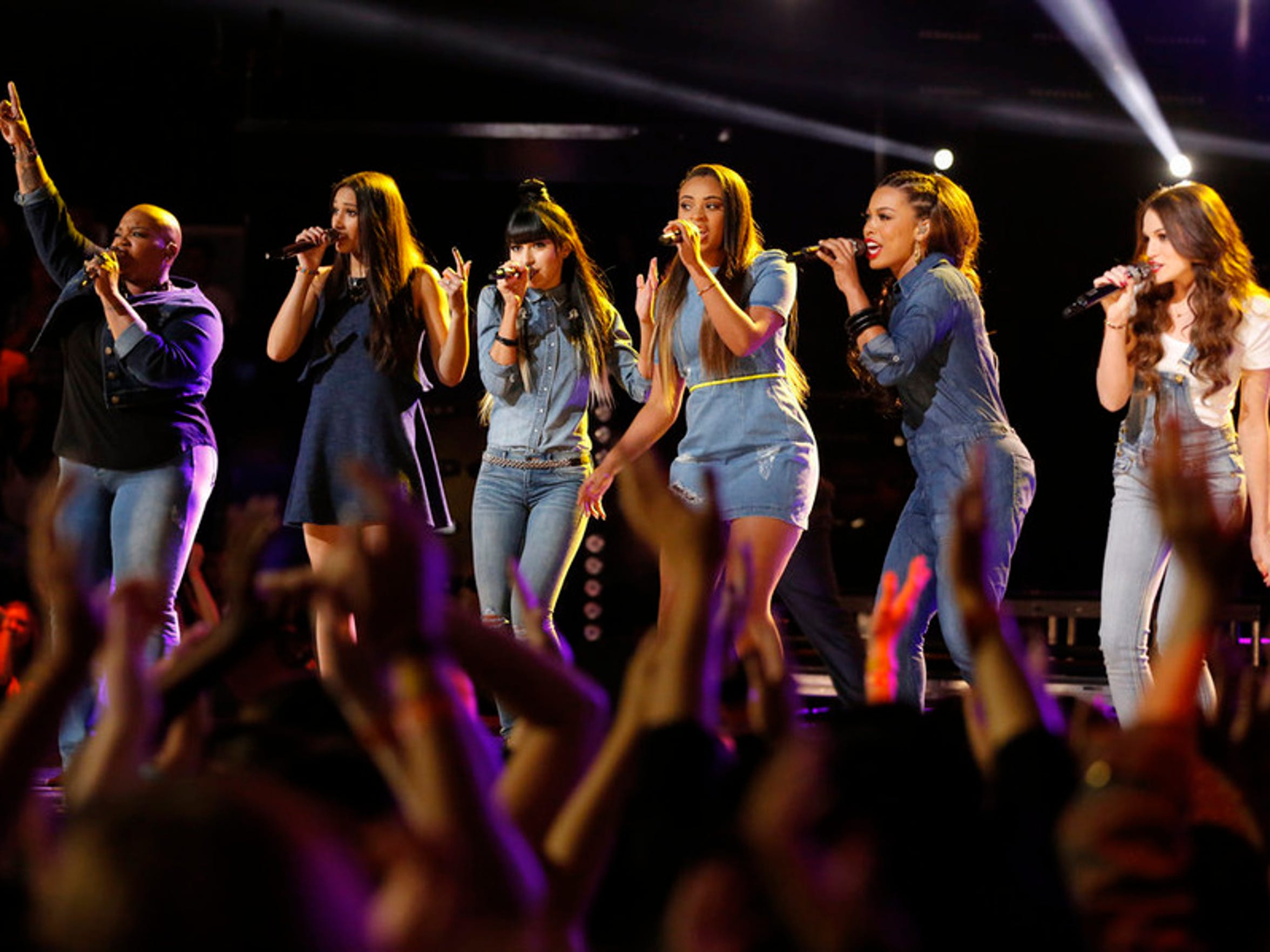 Tonya Boyd-Cannon, Lexi Davila, Mia Zanotti, Koryn Hawthorne, India Carney, Caitlin Caporale during a season 8 The Voice performance.