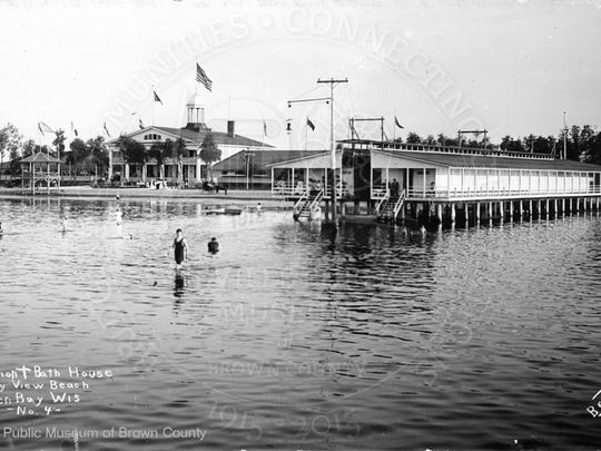 The swimming beach at what is now Bay Beach Amusement Park was privately operated at the time of this photo from the early 1900s.