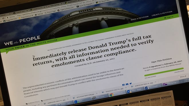 """The petition seeking the release of President Donald Trump's tax returns on the WhiteHouse.gov """"We The People"""" page."""