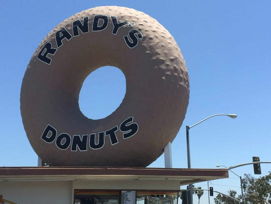 Randy's Donuts' towering pastry is made of steel and