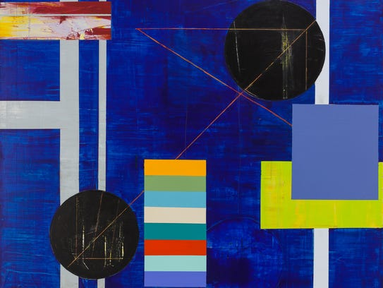 "Carol Mode, ""Constructs,"" acrylic on canvas, 50x50""."