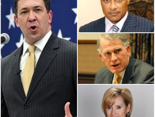 "Chris McDaniel, left, and, from top right, Mike Espy, Andy Taggart and Cindy Hyde-Smith could be in a four-way race for U.S. Senate. McDaniel and Espy have announced their candidacies, Hyde-Smith has been appointed to the seat until the special election, and Taggart has said he is ""seriously considering"" running."
