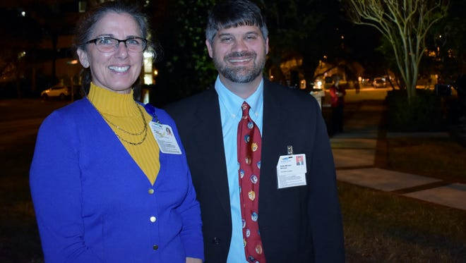 Maureen Luther, Indian River Medical Center director of Volunteer Services/BAS, celebrates with Rabbi Michael Birnholz at the 26th annual Florence Booms Festival of Lights.