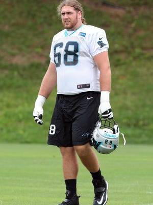 Carolina Panthers guard Andrew Norwell (68) during Panthers Training Camp at Wofford College on July 27.