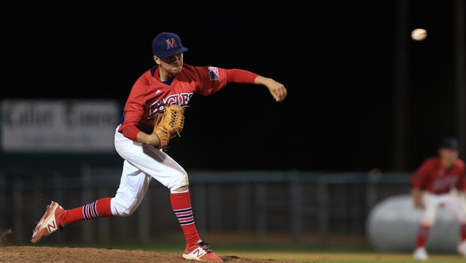 Veterans Memorial's Jo Jo Villarreal pitches the game against Carroll at Cabaniss Field on Tuesday, March 7, 2017