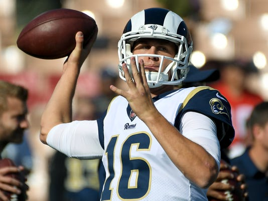 Los Angeles Rams quarterback Jared Goff warms up before an NFL football game against the New Orleans Saints, Sunday, Nov. 26, 2017, in Los Angeles. (AP Photo/Mark J. Terrill)