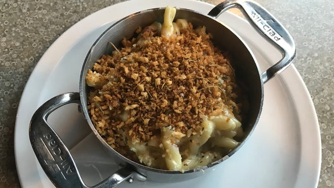 Mac and cheese is layered with flavors of bacon and herbs and three types of cheese at Red Eye Brewing Company in Wausau.