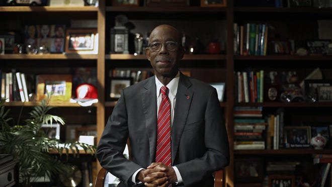 Ohio State University President Michael V. Drake poses for a photo in his office on September 10, 2019. Drake was named as the next president of the University of California system Tuesday, just a week after his OSU presidency ended.
