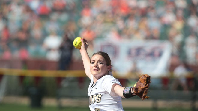 UCF pitcher Shelby Turnier throws against Arizona during the 13th annual Mary Nutter Collegiate Classic in Cathedral City on Saturday, February 20, 2016.