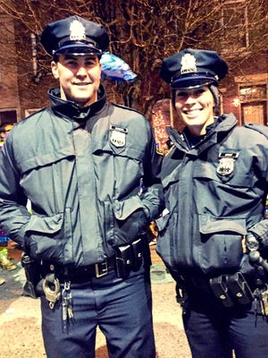 Former Annville-Cleona softball standout Cassie Ernst, now a police officer for the City of Philadelphia, poses for a photo with her partner during the Mummers Parade last winter.
