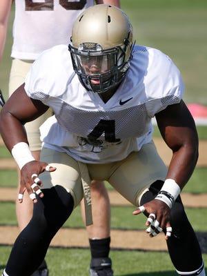 Linebacker Ja'Whaun Bentley runs drills at Purdue football practice Monday, August , 2016, at the Bimel Practice Complex.