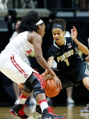 Ashley Morrissette tries to steal the ball from Sierra Calhoun of Ohio State Sunday, January 15, 2017, at Mackey Arena. Ohio State defeated Purdue 61-56.